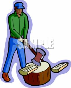 Ax clipart chopped wood. A man with an