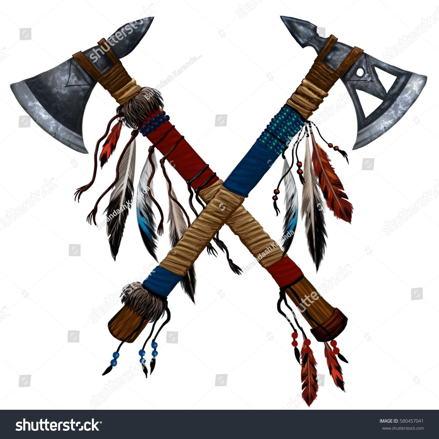 Axe clipart native american. Illustration two crossed tomahawks