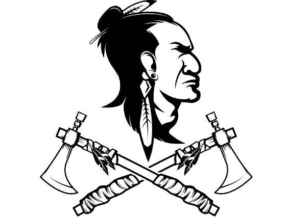 Axe clipart native american. Indian logo warrior skull