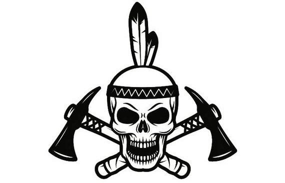 Indian logo warrior skull. Axe clipart native american