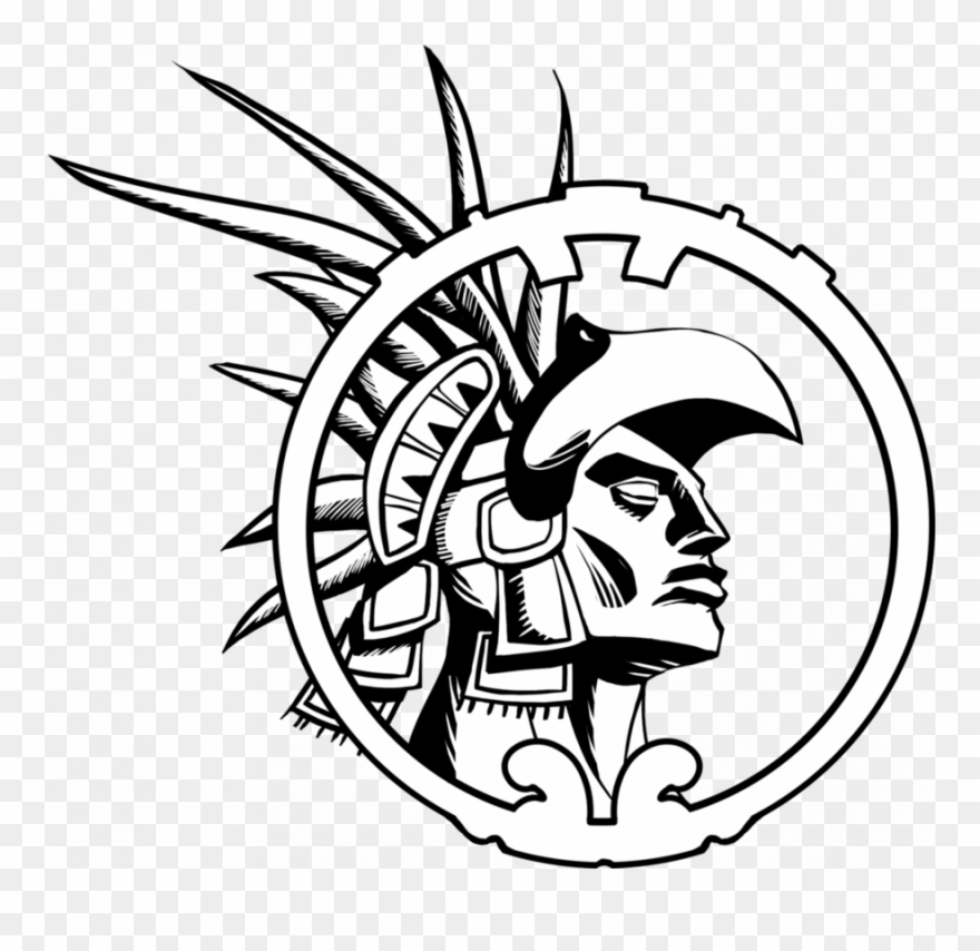 Warrior black and white. Aztec clipart