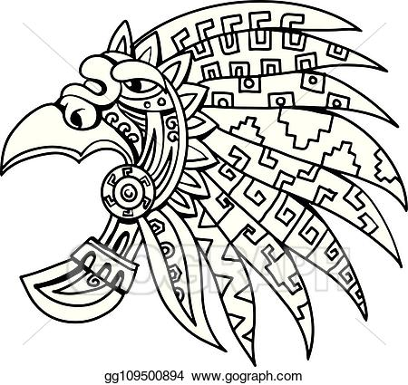 Aztec clipart. Vector art feathered headdress