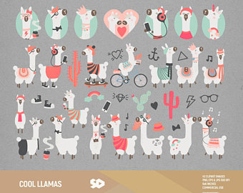 Aztec clipart animals. Llama cactus clip art