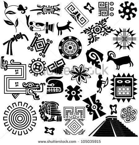 Vector black animal stock. Aztec clipart animals