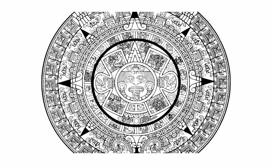 Calender coloring pages clip. Aztec clipart aztec calendar