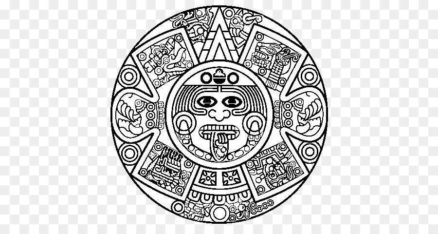 Book black and white. Aztec clipart aztec calendar