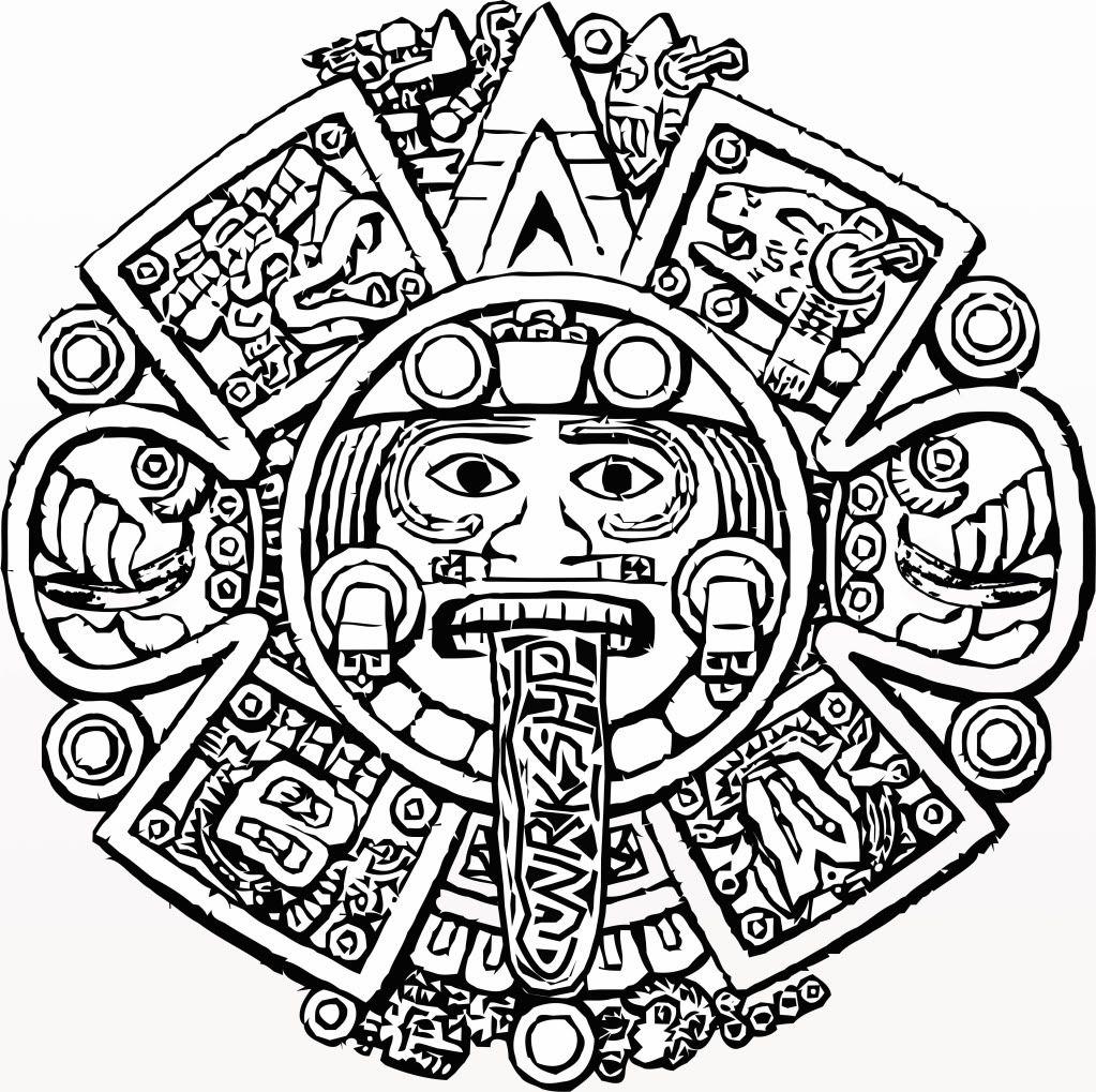 Coloring page. Aztec clipart aztec calendar