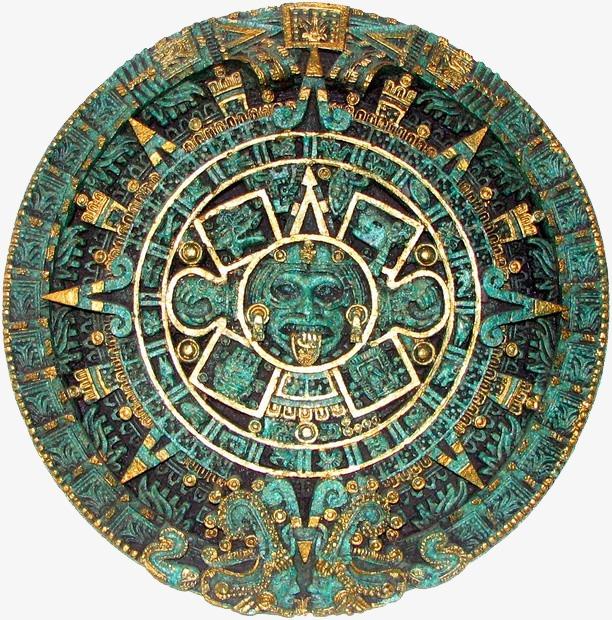 Aztec clipart aztec calendar. Ancient exquisite dishes round