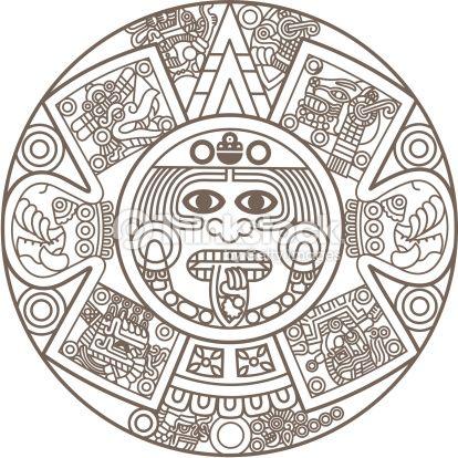 Aztec clipart aztec calendar. Vectoriel stylized tattoos pinterest
