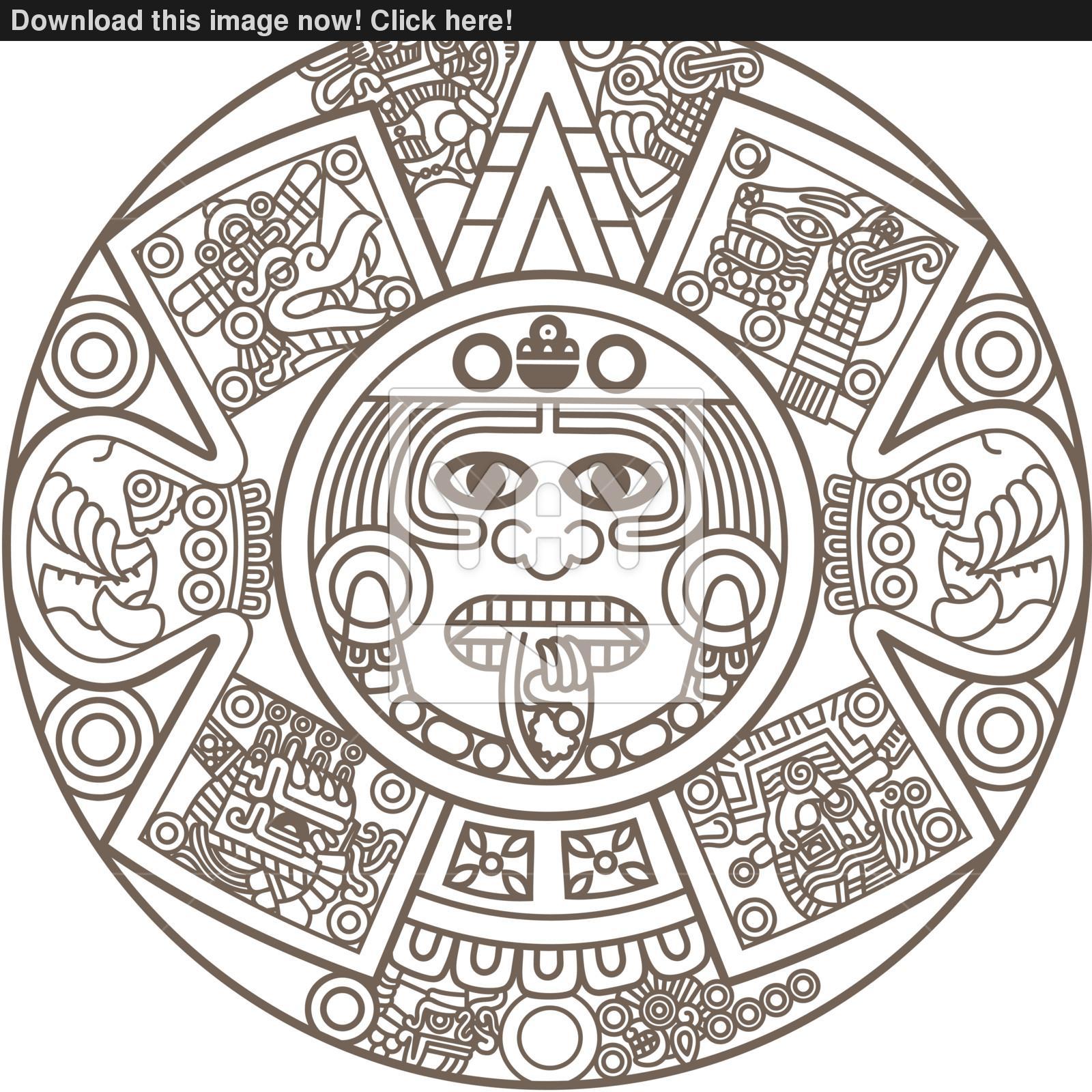Aztec drawing at getdrawings. Calendar clipart sketch