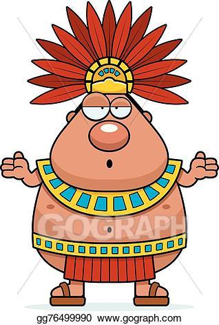 Aztec clipart aztec emperor. Eps illustration confused cartoon