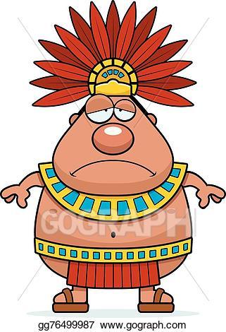 Aztec clipart aztec king. Eps vector sad cartoon
