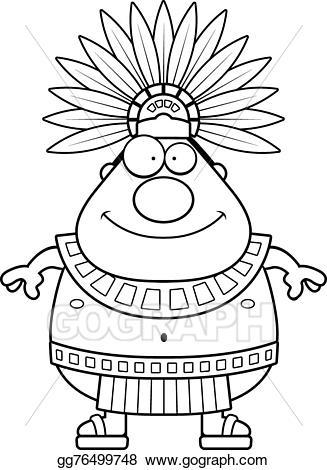 Vector stock happy cartoon. Aztec clipart aztec king