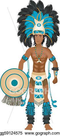 Vector stock carnival costume. Aztec clipart aztec man