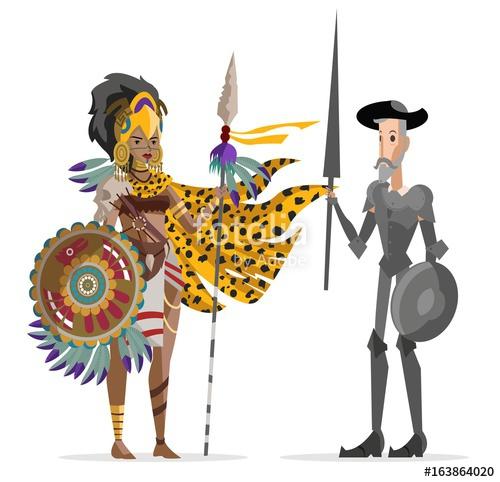Aztec clipart aztec man. Mesoamerican warrior and european