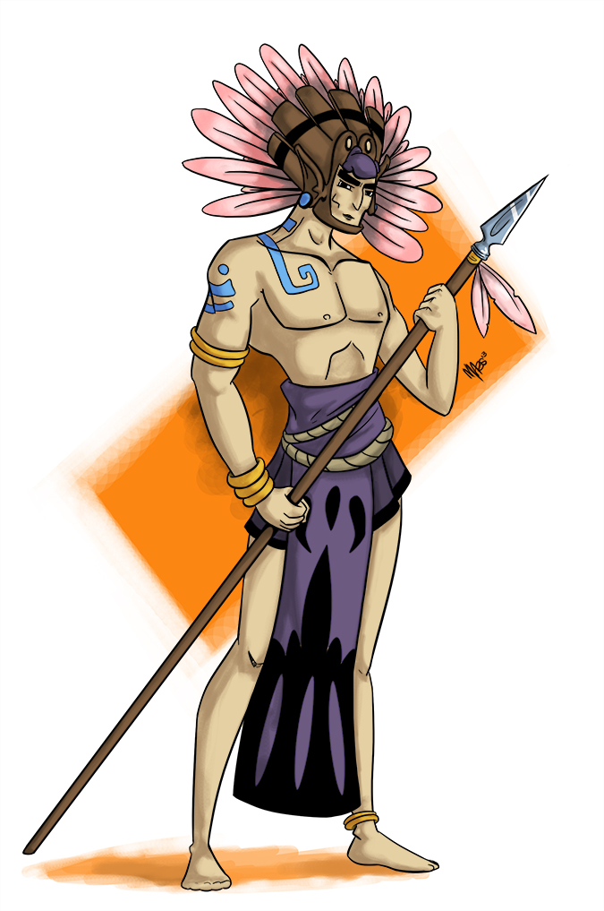 Warrior by mabelma on. Aztec clipart aztec man