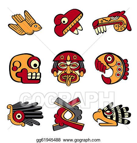 Aztec clipart aztec symbol. Vector illustration symbols stock