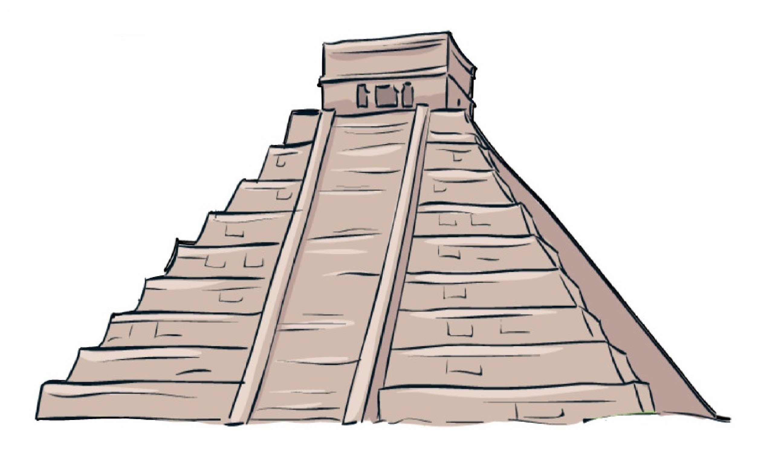 Aztec clipart aztec temple. Pyramid drawing at getdrawings