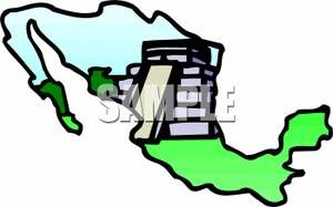 Aztec clipart aztec temple. An and a map