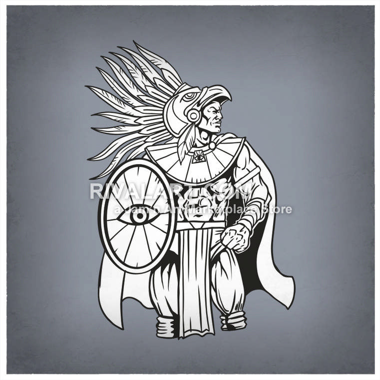 An holding a shield. Aztec clipart aztec warrior