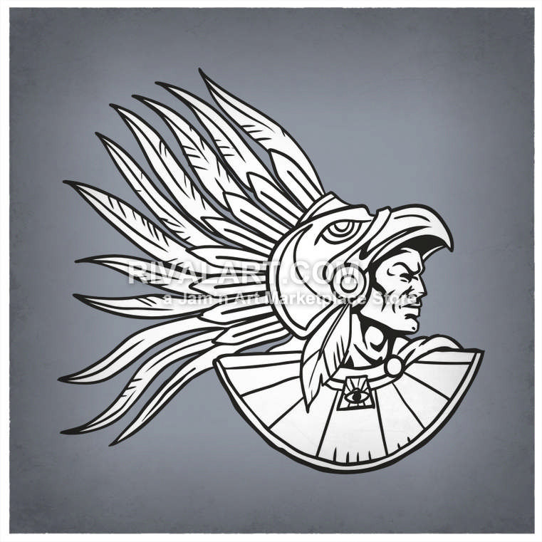 Aztec clipart aztec warrior. An wearing feathers vector