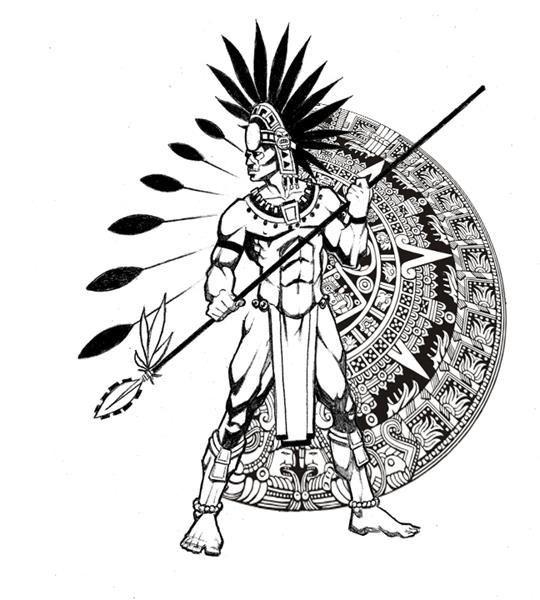 Tattoo design draw pinterest. Aztec clipart aztec warrior