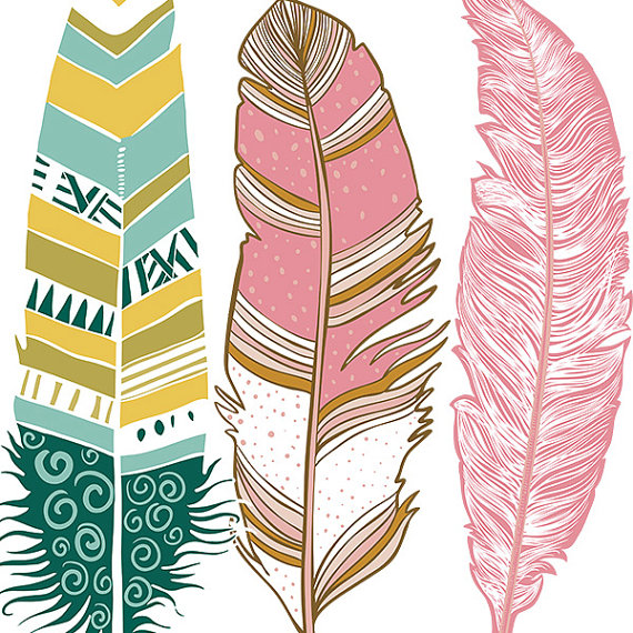Aztec clipart background. Feather hand drawn clip