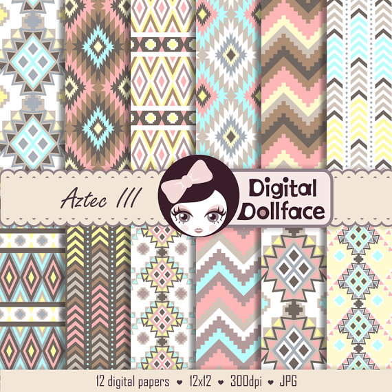 Aztec clipart background. Pastel digital paper spring