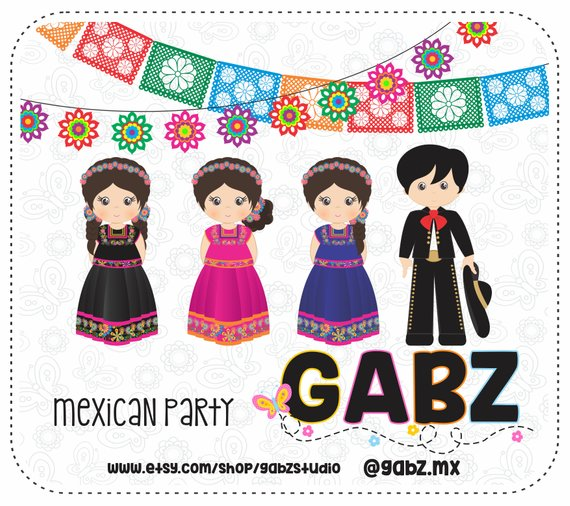 Aztec clipart background. Mexican party patterns confetti