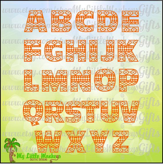 Alphabet letters digital cut. Aztec clipart background