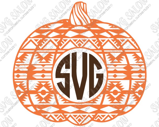 Aztec clipart background. Pumpkin circle monogram frame