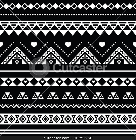 Seamless pattern tribal black. Aztec clipart background