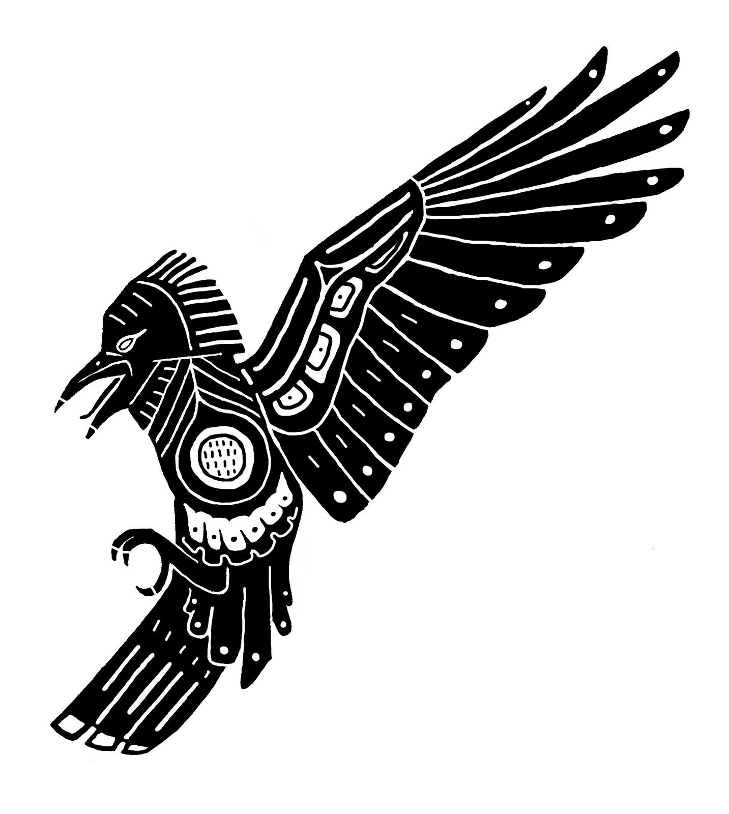 Aztec clipart bird. Black raven tattoo stencil
