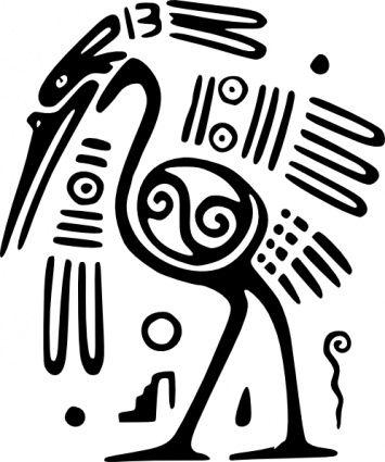 Ancient mexico motif clip. Aztec clipart bird