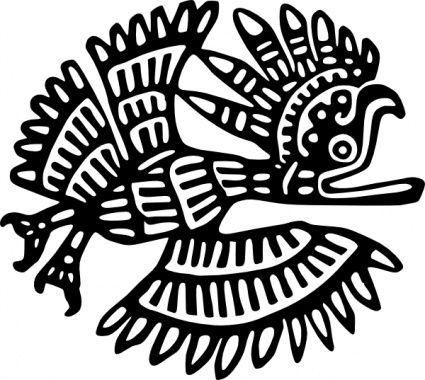 Love the silhouette motif. Aztec clipart bird