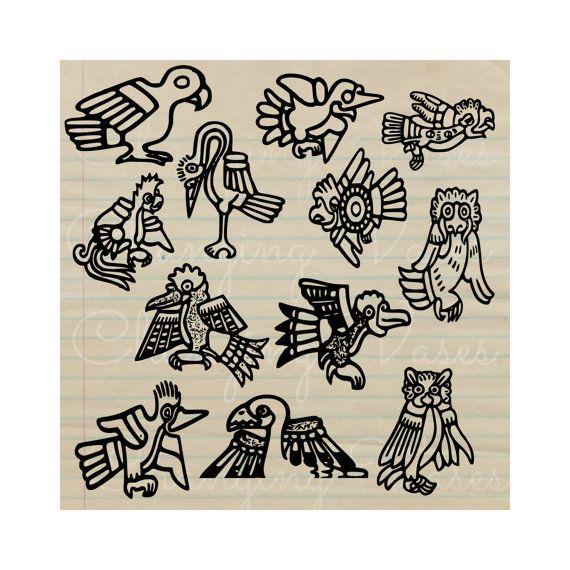 Aztec clipart bird. Vintage art digital graphics