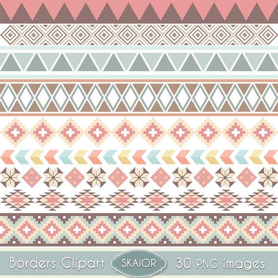 Tribal digital clip art. Borders clipart scrapbook
