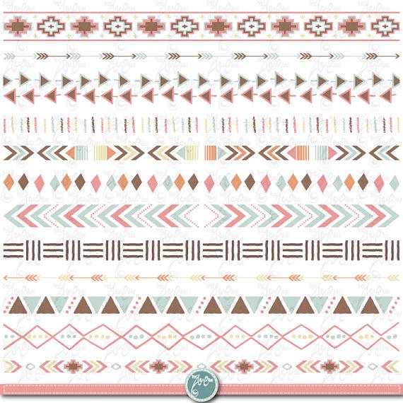 Aztec clipart border. Tribal ribbon set borders