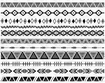 Borders etsy tribal ribbon. Aztec clipart border