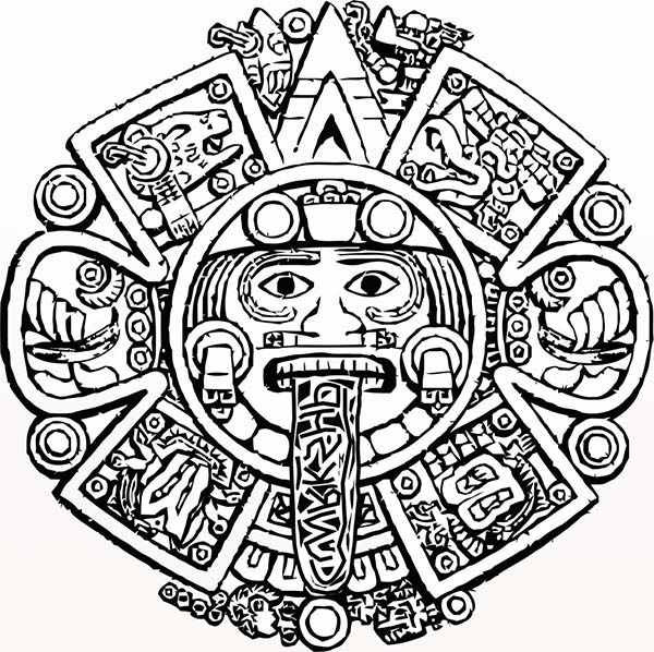 Aztec stone coloring pages. Calendar clipart sketch
