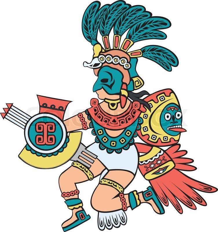 Aztec clipart cartoon. God color version style