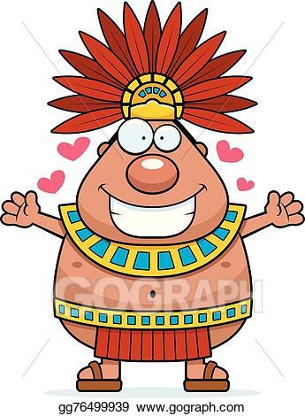 Vector king hug illustration. Aztec clipart cartoon