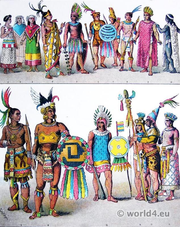 Aztec clipart clothes. Costumes of mexican actec