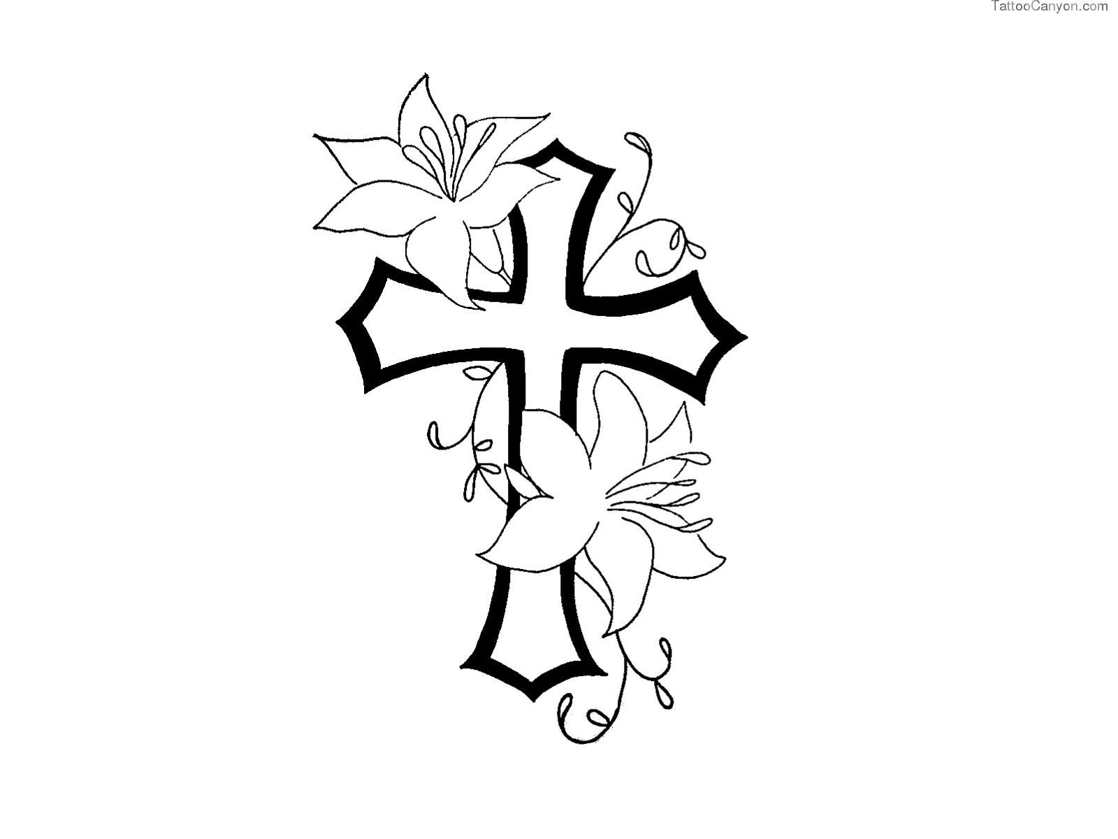 Free designs cross with. Crucifix clipart flower