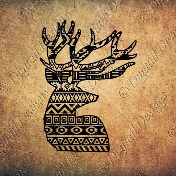 Svg png dxf eps. Aztec clipart deer head