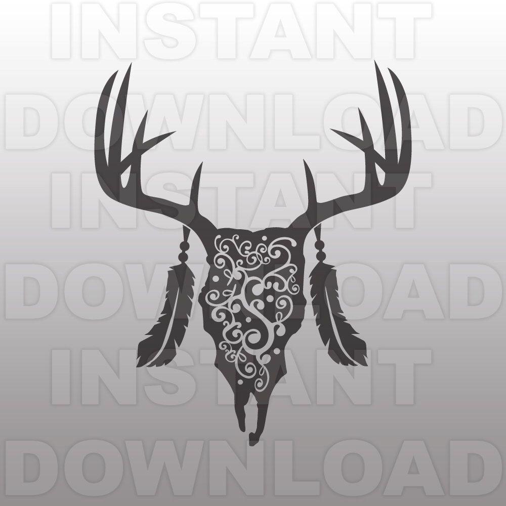 Aztec clipart deer head. Skull flourish svg file