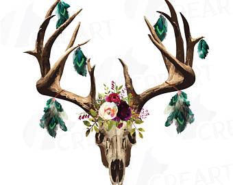 Bull skull feather boho. Aztec clipart deer head