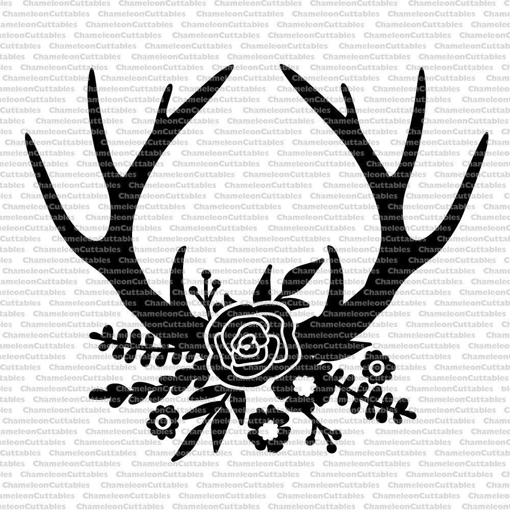 Floral black svg cut. Antlers clipart outline