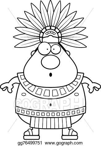 Aztec clipart drawing. Vector art surprised cartoon