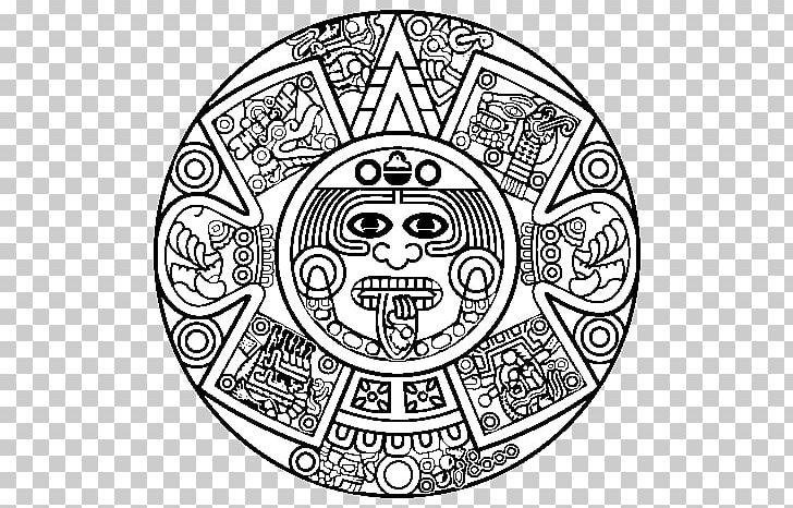 Aztec clipart drawing. Calendar stone maya civilization